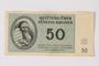 Theresienstadt ghetto-labor camp scrip, 50 kronen note, owned by a German Jewish survivor
