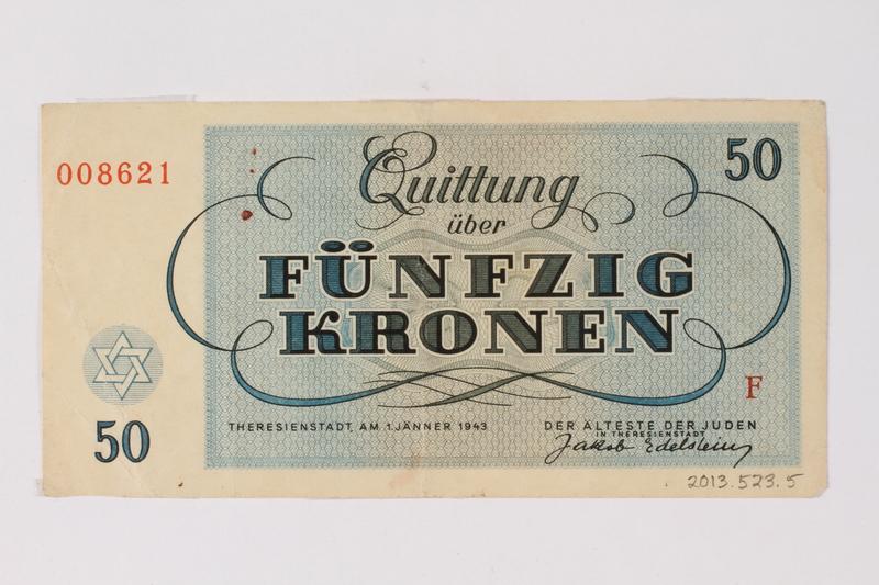 2013.523.5 back Theresienstadt ghetto-labor camp scrip, 50 kronen note, owned by a German Jewish survivor