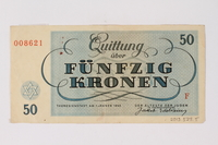 2013.523.5 back Theresienstadt ghetto-labor camp scrip, 50 kronen note, owned by a German Jewish survivor  Click to enlarge