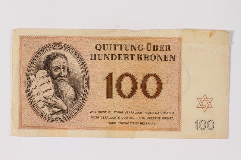2013.523.6 front Theresienstadt ghetto-labor camp scrip, 100 kronen note, owned by a German Jewish survivor