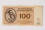 Theresienstadt ghetto-labor camp scrip, 100 kronen note, owned by a German Jewish survivor