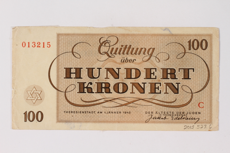 2013.523.6 back Theresienstadt ghetto-labor camp scrip, 100 kronen note, owned by a German Jewish survivor