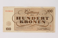 2013.523.6 back Theresienstadt ghetto-labor camp scrip, 100 kronen note, owned by a German Jewish survivor  Click to enlarge