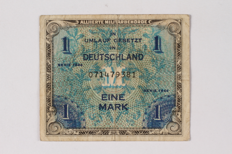 2013.523.7 front Allied Military Authority currency, 1 mark, for use in Germany, acquired by a German Jewish survivor