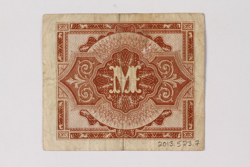 2013.523.7 back Allied Military Authority currency, 1 mark, for use in Germany, acquired by a German Jewish survivor