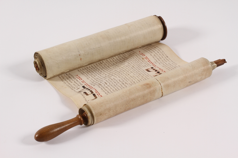 2015.335.2 a open Haftorah scroll with cover