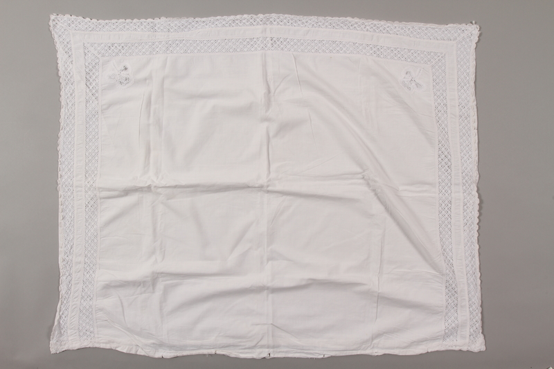 2012.342.4 front White lace pillowcase returned to Czech Jewish concentration camp inmates postwar
