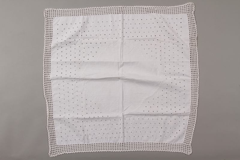 2012.342.10 front Square white cotton tablecloth saved by a by Czech Jewish refugee