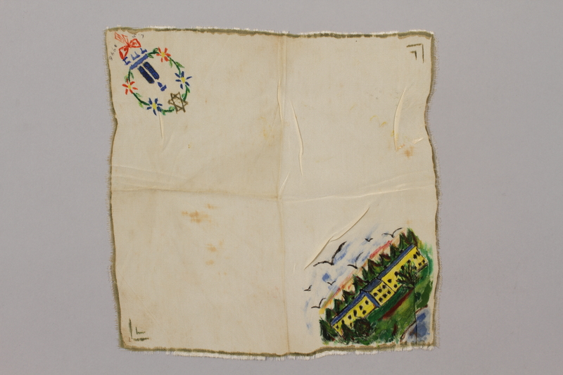 2015.362.2 front Handkerchief embroidered with a landscape and a Star of David owned by a survivor of several concentration camps