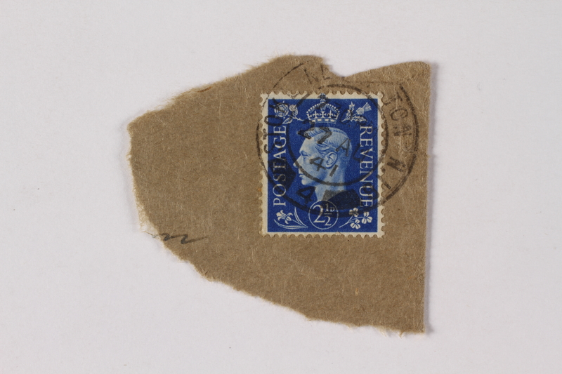 1990.114.73 front Cancelled British postage stamp acquired by a German Jewish refugee
