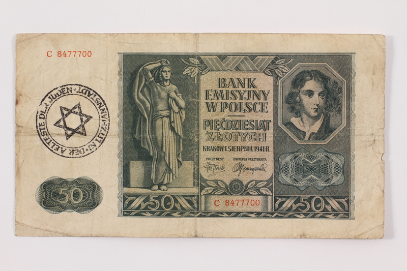 2015.381.4.2 front Occupation currency note, 50 zloty, issued by Nazi Germany in Poland