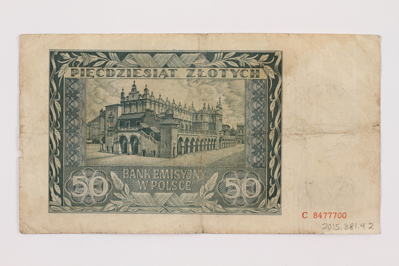 2015.381.4.2 back Occupation currency note, 50 zloty, issued by Nazi Germany in Poland