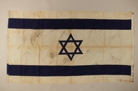 2016.1.1 back Blue and white Zionist flag with a Star of David from the ship Exodus 1947  Click to enlarge