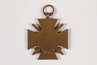 2015.415.4 back World War I medal awarded to a Jewish German veteran  Click to enlarge