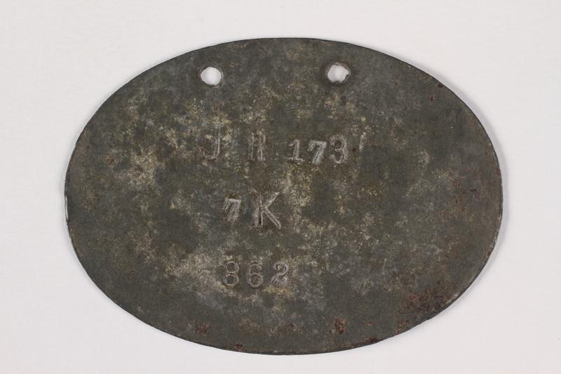 2015.415.7 back World War I dog tags worn by a Jewish soldier