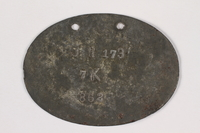 2015.415.7 back World War I dog tags worn by a Jewish soldier  Click to enlarge