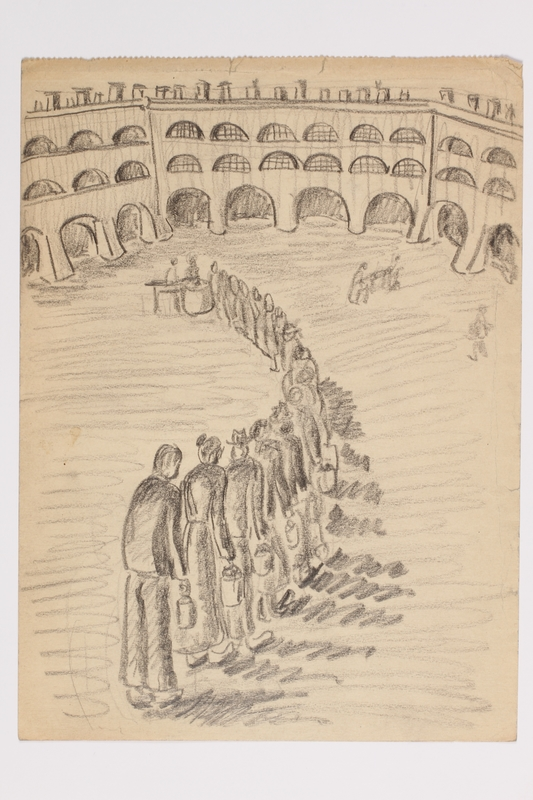 2001.3.6 front Postwar sketch of inmates in a food line inscribed to a Czech Jewish survivor
