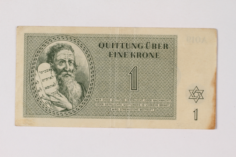 2001.3.7 front Theresienstadt ghetto-labor camp scrip, 1 krone, owned by a former Czech Jewish inmate