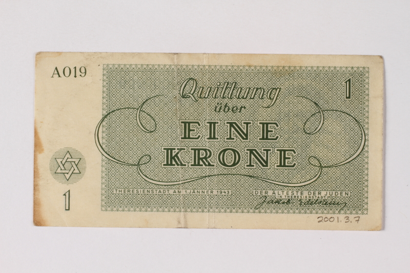 2001.3.7 back Theresienstadt ghetto-labor camp scrip, 1 krone, owned by a former Czech Jewish inmate