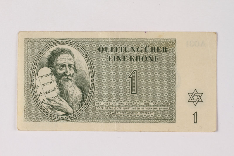 2001.3.8 front Theresienstadt ghetto-labor camp scrip, 1 kronen, owned by a former Czech Jewish inmate
