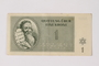 Theresienstadt ghetto-labor camp scrip, 1 kronen, owned by a former Czech Jewish inmate