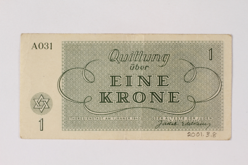 2001.3.8 back Theresienstadt ghetto-labor camp scrip, 1 kronen, owned by a former Czech Jewish inmate