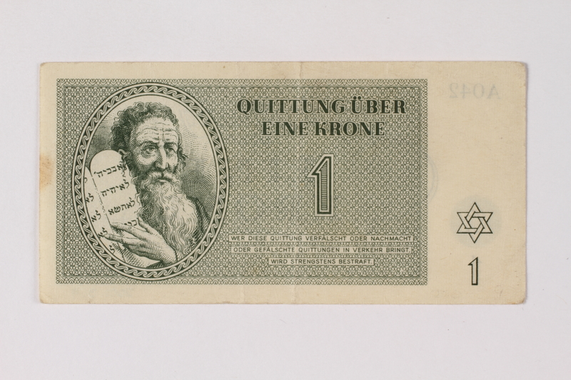 2001.3.9 front Theresienstadt ghetto-labor camp scrip, 1 krone, owned by a former Czech Jewish inmate