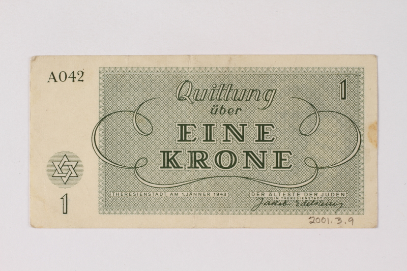 2001.3.9 back Theresienstadt ghetto-labor camp scrip, 1 krone, owned by a former Czech Jewish inmate
