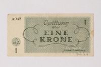 2001.3.9 back Theresienstadt ghetto-labor camp scrip, 1 krone, owned by a former Czech Jewish inmate  Click to enlarge