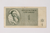 2001.3.10 front Theresienstadt ghetto-labor camp scrip, 1 krone, owned by a former Czech Jewish inmate  Click to enlarge