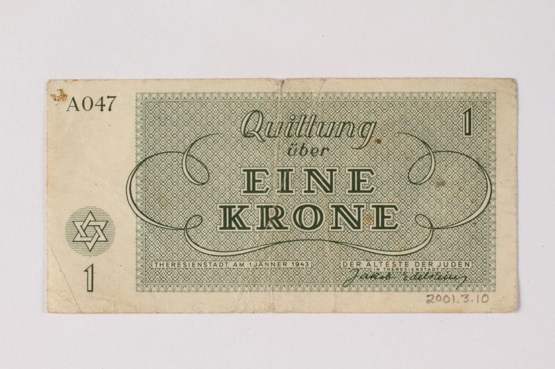 2001.3.10 back Theresienstadt ghetto-labor camp scrip, 1 krone, owned by a former Czech Jewish inmate