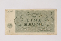 2001.3.10 back Theresienstadt ghetto-labor camp scrip, 1 krone, owned by a former Czech Jewish inmate  Click to enlarge