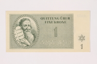 2001.3.11 front Theresienstadt ghetto-labor camp scrip, 1 krone, owned by a former Czech Jewish inmate  Click to enlarge