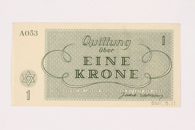 2001.3.11 back Theresienstadt ghetto-labor camp scrip, 1 krone, owned by a former Czech Jewish inmate