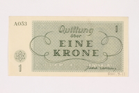 2001.3.11 back Theresienstadt ghetto-labor camp scrip, 1 krone, owned by a former Czech Jewish inmate  Click to enlarge