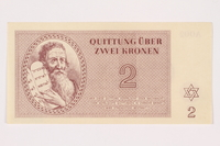 2001.3.12 front Theresienstadt ghetto-labor camp scrip, 2 kronen, owned by a former Czech Jewish inmate  Click to enlarge