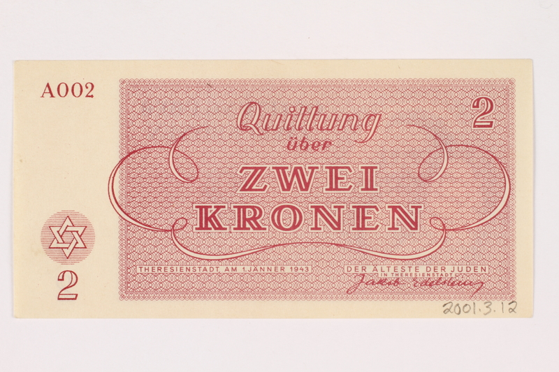 2001.3.12 back Theresienstadt ghetto-labor camp scrip, 2 kronen, owned by a former Czech Jewish inmate