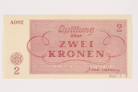 2001.3.12 back Theresienstadt ghetto-labor camp scrip, 2 kronen, owned by a former Czech Jewish inmate  Click to enlarge