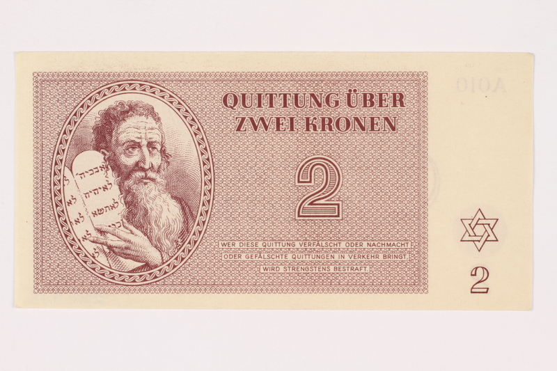 2001.3.13 front Theresienstadt ghetto-labor camp scrip, 2 kronen, owned by a former Czech Jewish inmate