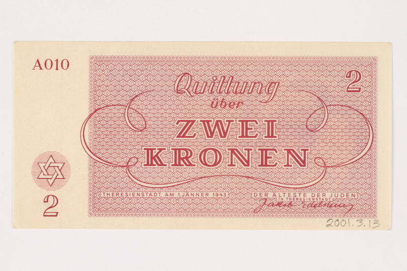 2001.3.13 back Theresienstadt ghetto-labor camp scrip, 2 kronen, owned by a former Czech Jewish inmate