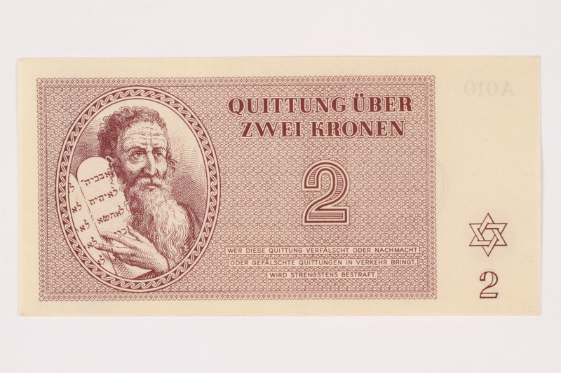 2001.3.14 front Theresienstadt ghetto-labor camp scrip, 2 kronen, owned by a former Czech Jewish inmate