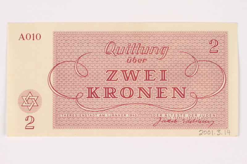 2001.3.14 back Theresienstadt ghetto-labor camp scrip, 2 kronen, owned by a former Czech Jewish inmate