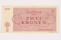 2001.3.14 back Theresienstadt ghetto-labor camp scrip, 2 kronen, owned by a former Czech Jewish inmate  Click to enlarge