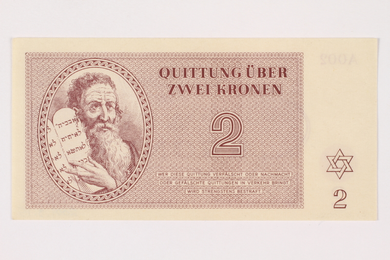 2001.3.15 front Theresienstadt ghetto-labor camp scrip, 2 kronen, owned by a former Czech Jewish inmate