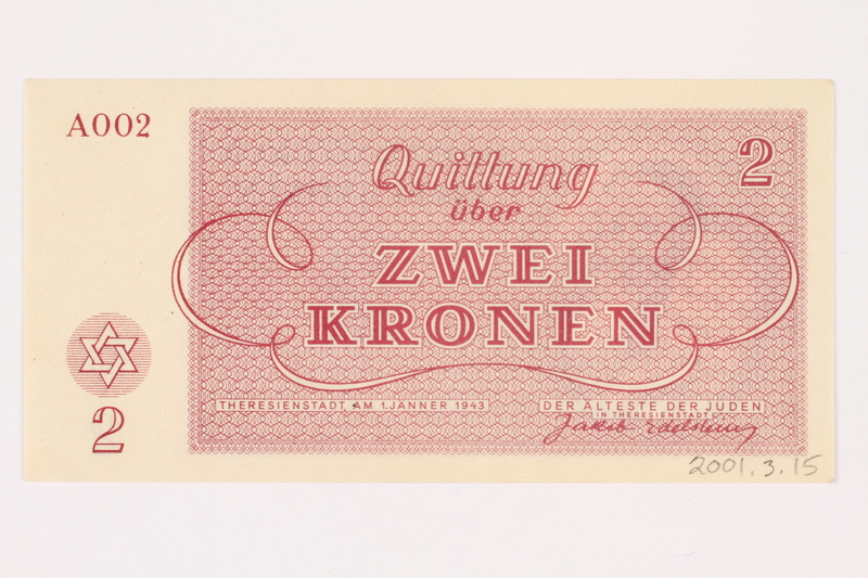 2001.3.15 back Theresienstadt ghetto-labor camp scrip, 2 kronen, owned by a former Czech Jewish inmate