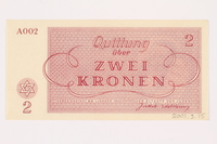 2001.3.15 back Theresienstadt ghetto-labor camp scrip, 2 kronen, owned by a former Czech Jewish inmate  Click to enlarge