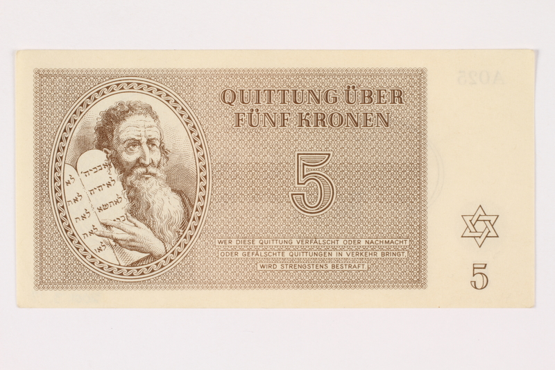 2001.3.17 front Theresienstadt ghetto-labor camp scrip, 5 kronen, owned by a former Czech Jewish inmate