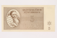 2001.3.17 front Theresienstadt ghetto-labor camp scrip, 5 kronen, owned by a former Czech Jewish inmate  Click to enlarge