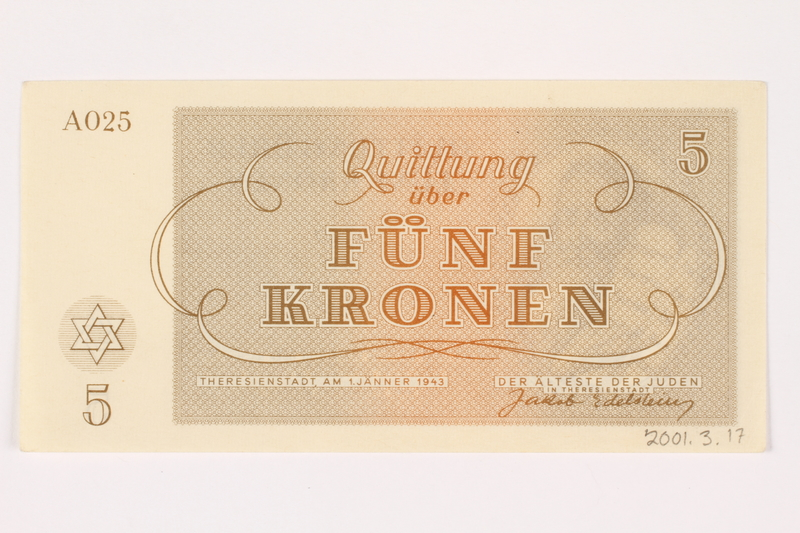 2001.3.17 back Theresienstadt ghetto-labor camp scrip, 5 kronen, owned by a former Czech Jewish inmate