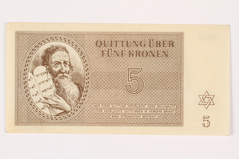 2001.3.18 front Theresienstadt ghetto-labor camp scrip, 5 kronen, owned by a former Czech Jewish inmate